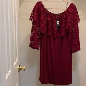 Plus size wine red off shoulder flare sleeve dress